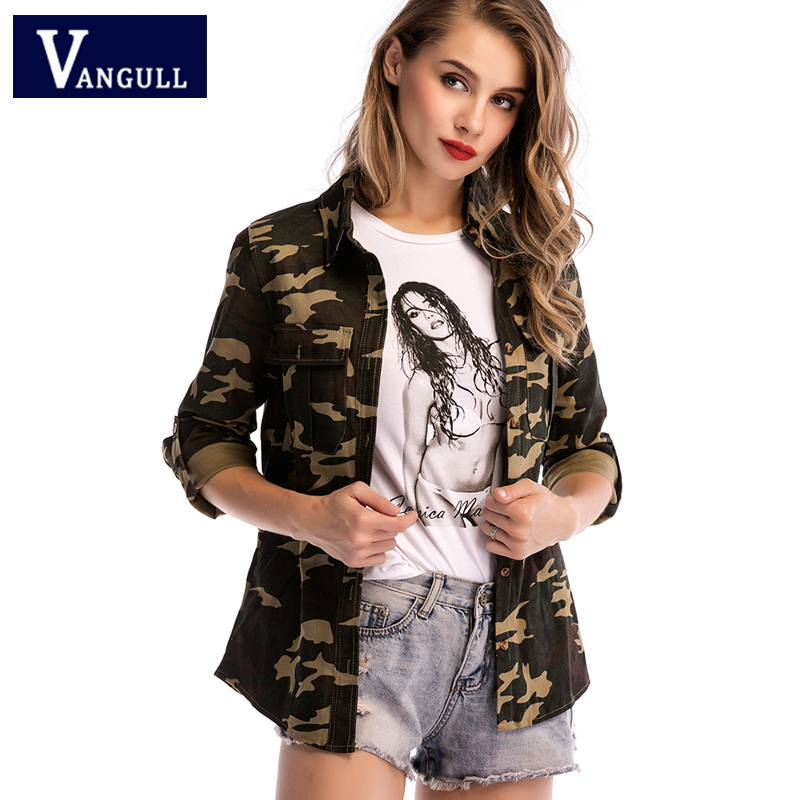 2019 Spring Fashion Slim Women's Clothing Camouflage Print   Basic     Jackets   Single Breasted Turn-down Collar New Style Coats Tops