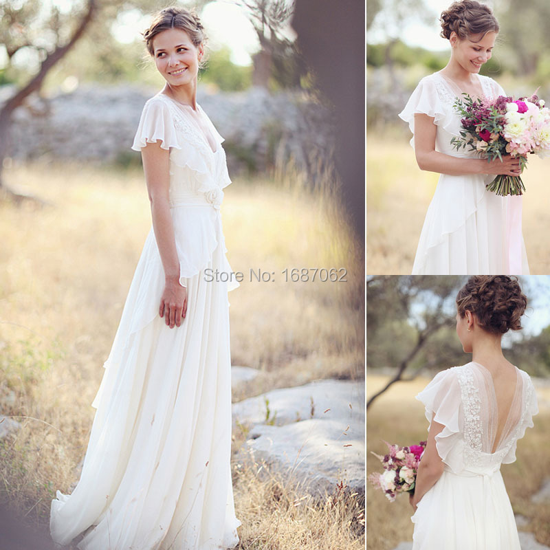 Vintage Short Sleeves V Neck A Line Chiffon Wedding Dresses