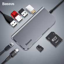 Baseus USB C HUB 8 in 1 USB-C with Type-c to Multi 3.0 HDMI RJ45 Ethernet Network Micro SD TF Card Reader OTG Type
