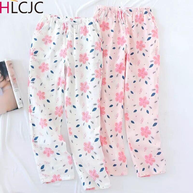Fresh Flower Women Sleep Bottoms 100% Gauze Cotton Cozy Summer Pajamas Pants Pink Quality Casual Women Pijama Trousers