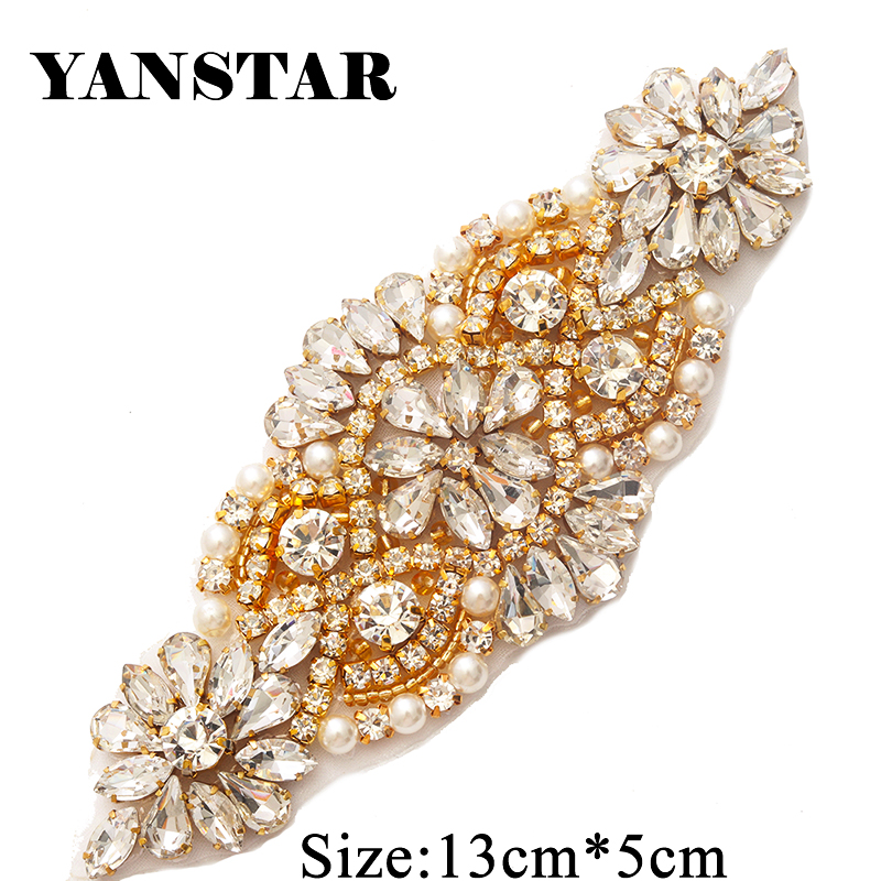 YANSTAR(5pcs) Wholesale Rhinestone Applique With Beads For Wedding Dresses  Belt Rhinestone Applique Accessory YS850-in Rhinestones from Home   Garden  on ... b3330e196e19