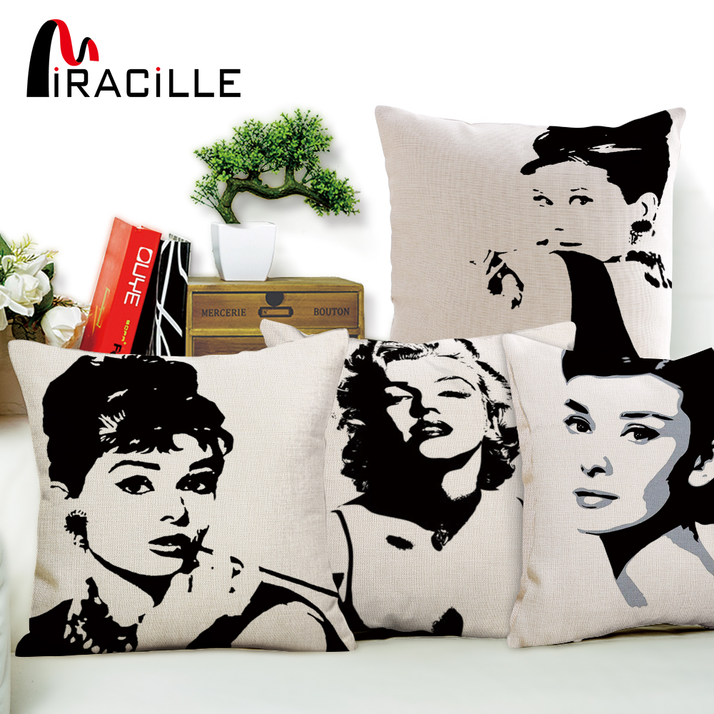 Marilyn monroe french chair - Miracille Special Design Hollywood Superstar Audrey Hepburn Marilyn Monroe Printed Pillowcase Cotton Linen Cushion Chair Cover