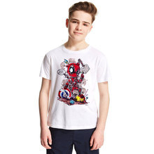 Deadpool Child T-shirts for Girls Boys 2018 Summer Costume X-men Marvel T-shirt Cotton Boys T Shirt Baby Clothes Anime Top Tees(China)