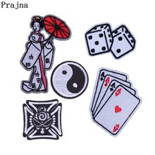 Prajna Dice Patch Embroidered Applique Patches Decoration Sew On For DIY Iron Clothing Stripe Badge