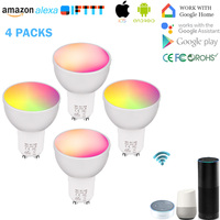 WiFi Smart GU10 Light Bulb, GU10 RGBW 5W,WiFi Smart Dimmable GU10,Remote Control Smart LED,Works with Alexa Google Home (4 Pack)