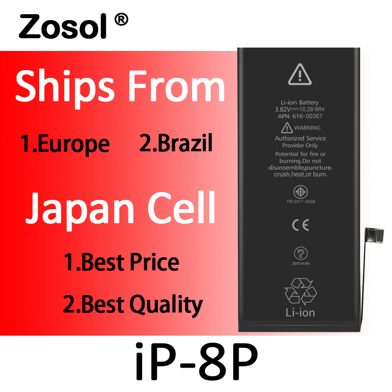 10pcs lot Origin Japan Cell Battery For iPhone 8 Plus iPhone8P Replacement Batterie Internal Bateria For