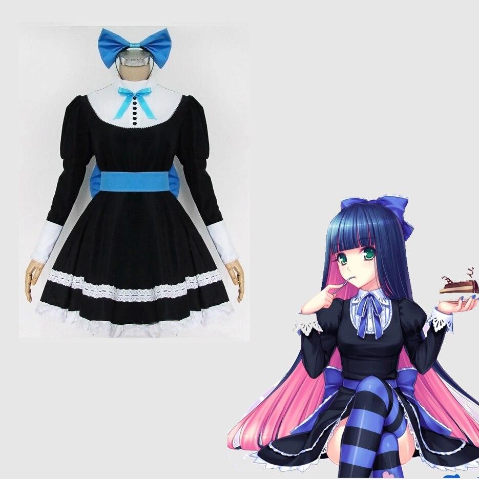 Jepang anime panty stocking dengan garterbelt stocking peran cosplay kostum pakaian seragam maid suit dress belt headwear di anime costumes dari