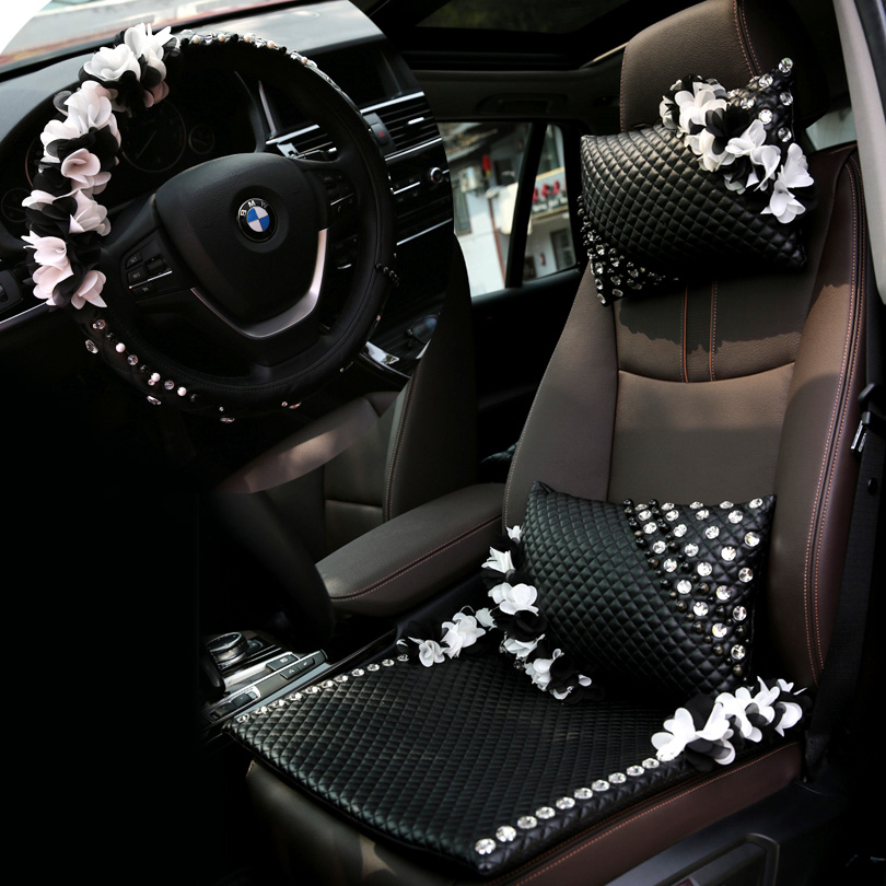 MeimeiBear Rhinestone Leather Car Seat Cushion Universal 38CM Steering Wheels Covers for Lace Flowers Cushions Pads - Black