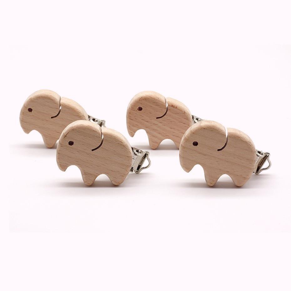 Wholesale 5PC Animals Elephant Bird Star Love Heart DIY Dummy Clip Natural Wood Beech Wood Pacifier Clip Non-Toxic Nipple Holder