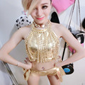Jerry women nightclub stage costume female singer costume dj sexy golden chain suit jazz dance costume