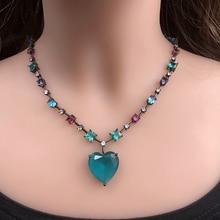 צבעוני בצורת לב תליון שרשרת מעוקב Zirconia נשים קולר שרשרת קריסטל זכוכית אבן שרשרת נשי קסם תכשיטי 2019