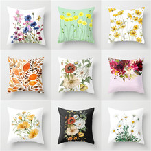 YVEVON Garden Style Small Fresh Flower Cushion Pastoral Floral Bird Garland Leaf Pillow Rose Watercolor For Home Decor 45x45cm