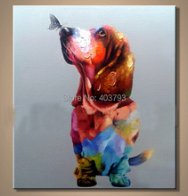 hand painted  MODERN ABSTRACT HUGE LARGE CANVAS ART OIL PAINTING absract butterfly kiss dog paintings no framed