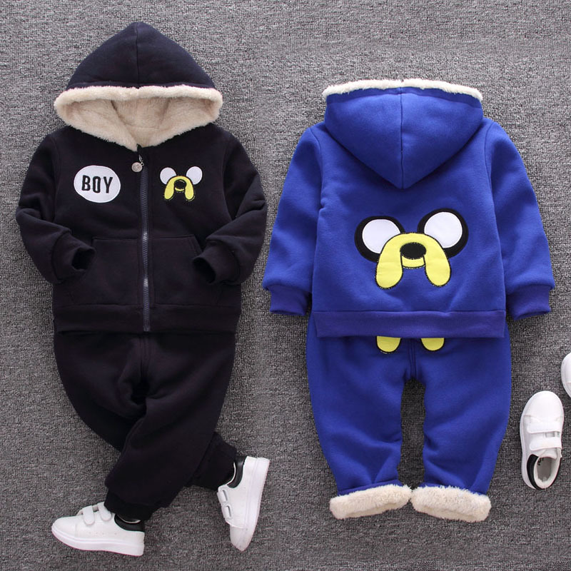 Winter Kids Plus Velvet Sweatshirts Hoodies Thick Cotton Baby Boys Girl Warm Cashmere Coat Pants 2Pcs Clothes Cartoon Print Sets