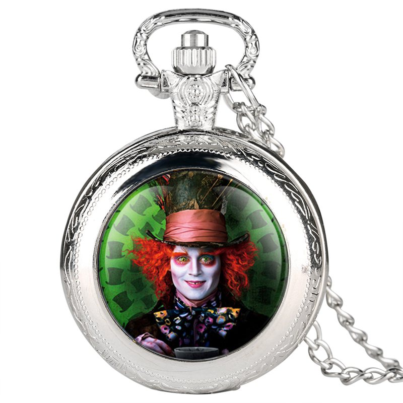 Alice in Wonderland Mad Hatter Rabbit Drink Me Tag Quartz Pocket Watch Dark Brown Glass Necklace Pendant Gifts for Women Girls 2019 2020 2021 2022 (11)