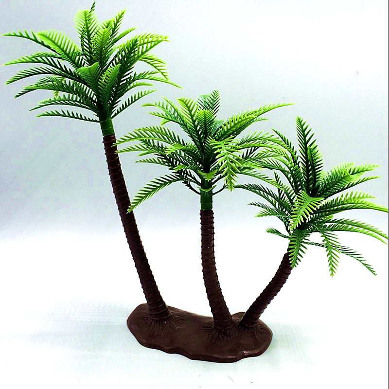 25CM DIY high static micro-plastic landscape Coconut trees sandbox style palm island Artificial Plant Garden Lifelike Decoration