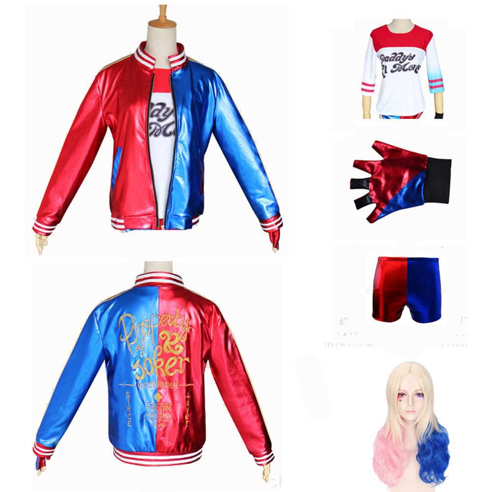 Girls Harley Quinn Cosplay Bomber Jacket Kids Quinn Halloween Costume Joker Suicide Squad Clothes T Shirt Pants Glove Wig Suit