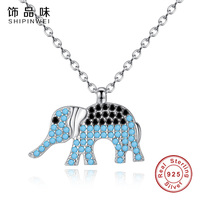 Shipinwei 925 Sterling Silver Popular Elephant Animal Pendant Necklaces With Clear Black Blue CZ Women Luxury