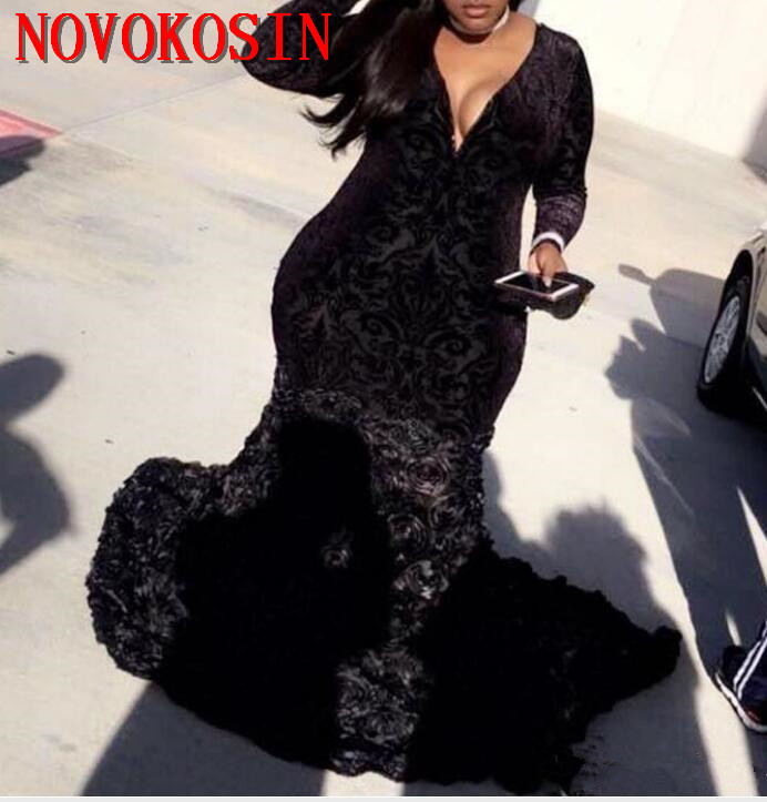 Plus Size Velvet Prom Dresses Black Mermaid Embroidered Lace Deep V Neck Long Sleeve Evening Gowns With 3D Flowers 2019