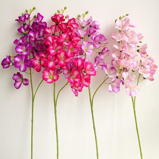5 unids artificiales dendrobium orquídea flor 21 cabezas falso