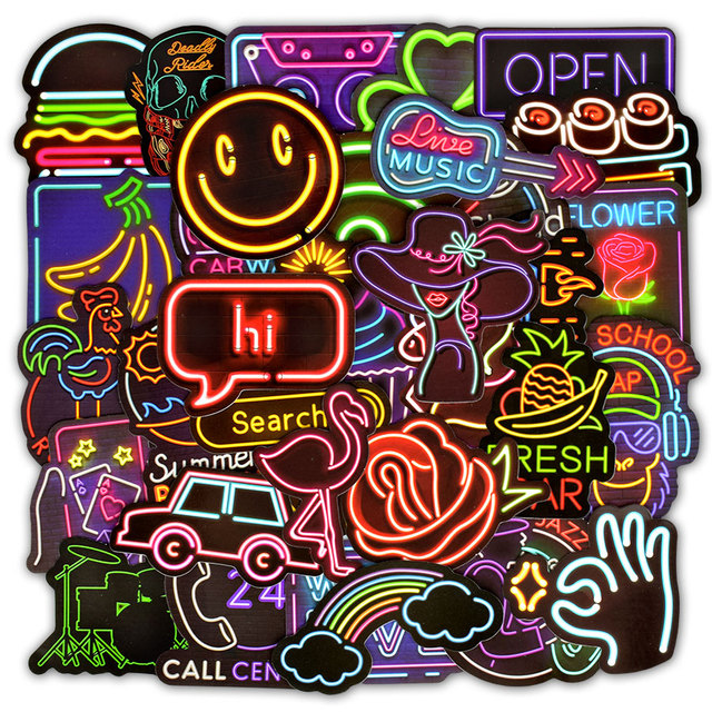 50 PCS Neon Light Sticker Gifts Toys for Children Anime Animal Cute Decals Stickers to Laptop Phone Suitcase Guitar Fridge Car