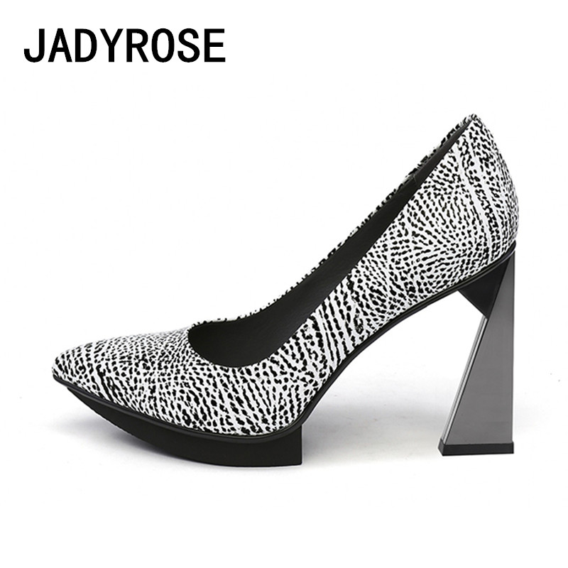 Chunky Wedding Heels: Women Sexy Pointed Toe Pumps Real Leather 11cm Chunky High
