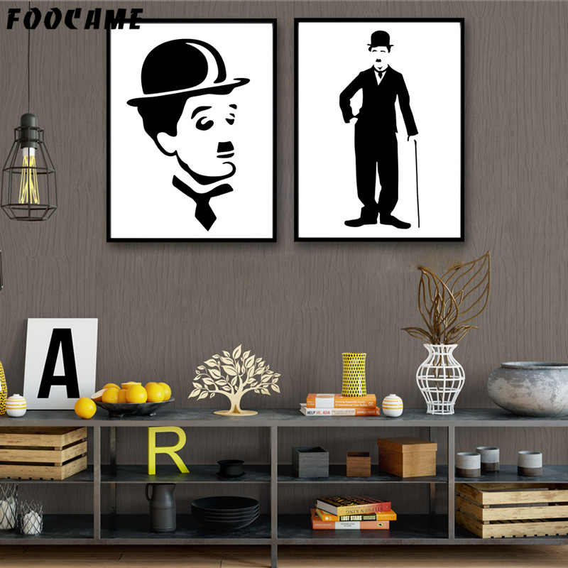 FOOCAME Charlie Chaplin Portrait the Tramp Posters and Prints Art Canvas Painting Home Decor Wall Pictures For Living Room