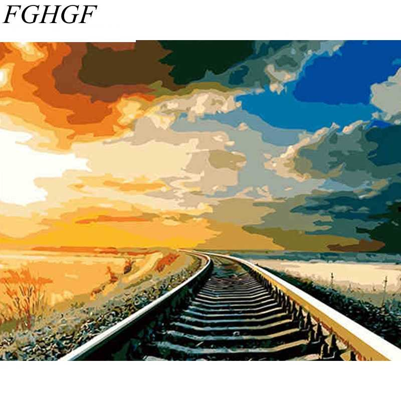 FGHGF Frameless Train Track DIY Painting By Numbers Landscape Calligraphy Painting Acrylic Picture On Canvas For Home Decor