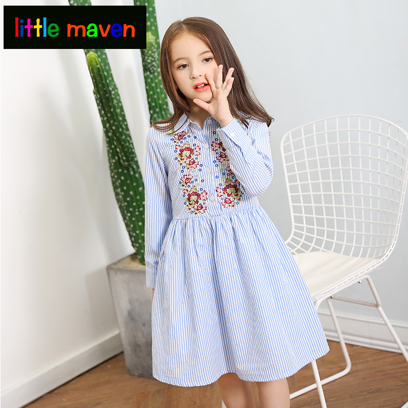 2018 Girls Princess Dress with Flower Embroidery&Stripe Dress clothes for teenage girls of 12 years old a-line girl dresses gril flower dress multi storey white clothes stage girl performance children show clothes for dance with a pair of glove