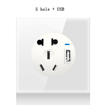 1 2 3 4 gang 2 way White Tempered glass switch Light pressure Wall Switch With LED lights France Germany socket household USB 8