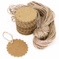 100pcs 60mm Kraft Paper Card Round Scalloped / Gift Tag / DIY Tag / Luggage Tag / Price Label with 10M Jute Twine (Brown)
