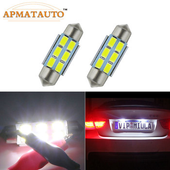 Pair 36mm C5W LED Festoon White Error Free License Plate Light Bulb For BMW E30 E39 E60 E61 E38 E46 E65 E90 325i 330i M3 Etc image