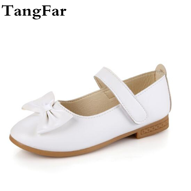 New Children Girls Leather Bowtie Shoes Slip-on Loafers Flower Soft Sole Toddler Baby Moccasins Flats Fashion Kids Sneakers
