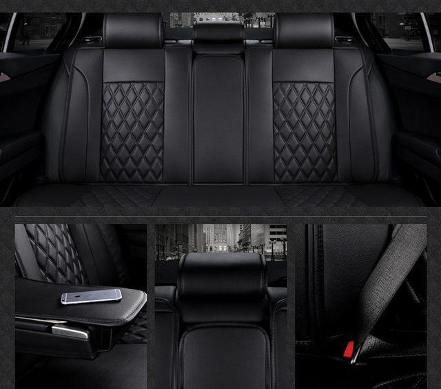 For Opel Astra Zafira Meriva Ampera Agila Corsa Black Car Soft Leather Seat Cover Front Rear Complete Set Covers