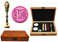 Vintage Luxury Letter K Alphabet Initial Engraved Wedding Invitation Wax Seal Sealing Stamp Brass Peacock Metal