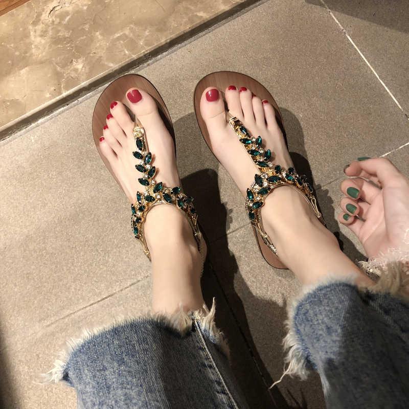 ฤดูร้อนผู้หญิง Rhinestone T รองเท้าแตะหญิงแฟชั่นผู้หญิงชายหาดอัญมณีพลิกรองเท้าผู้หญิงรองเท้า