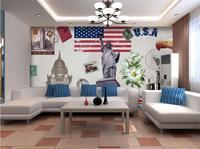 2017 3d quarto papel de parede personalizado não-tecido adesivo de parede estátua da liberdade bandeira peony murais de parede do fundo da parede 3d papel de parede c0406