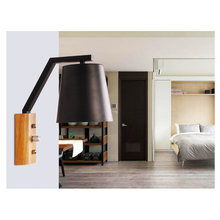 Contemporary Iron Wall Lamp Modern Wooden Art Decorative Oak Wall Lights Black White Foyer Hotel Restaurant Dining Room Dynasty недорого