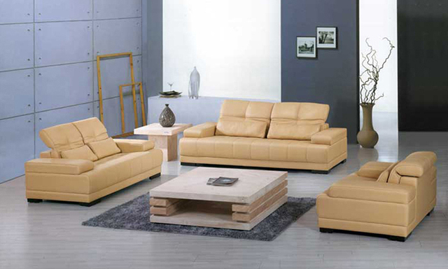 Free Shipping Yellow Leather Sofa 2017 New Design Clic 1 2 3 Large Size Modern