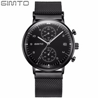 GIMTO 9mm Ultra Thin Quartz Watch Men Stainless Steel Strap Waterproof Chronograph Watches Mens Top Brand