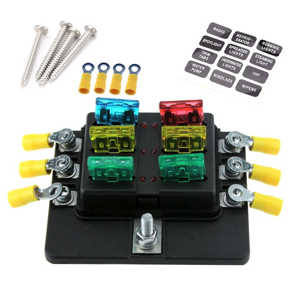 6 Way Blade Fuse Box Holder Standard Blade Fuse Blocks LED Indicator 10Pcs  Fuses 10Pcs Terminals