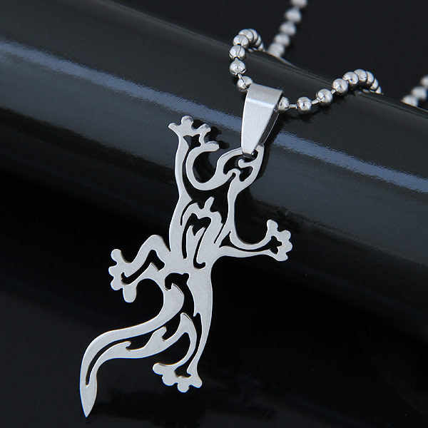 Hollow Gecko Steampunk Stainless Steel Necklaces & Pendants Chain Women Men Jewelry Statement Necklace Chokers Bijoux Gift