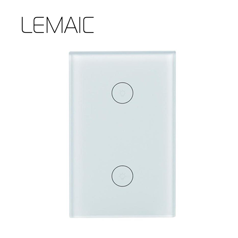 LEMAIC US standard Touch Switch White Crystal Glass Panel Touch Switch, AC220V 2 Gang 1 Way Light Wall Touch Screen Switch touch switch 2 way 1 gang black white crystal glass switch panel wall light touch screen switch 110 220v ac hot