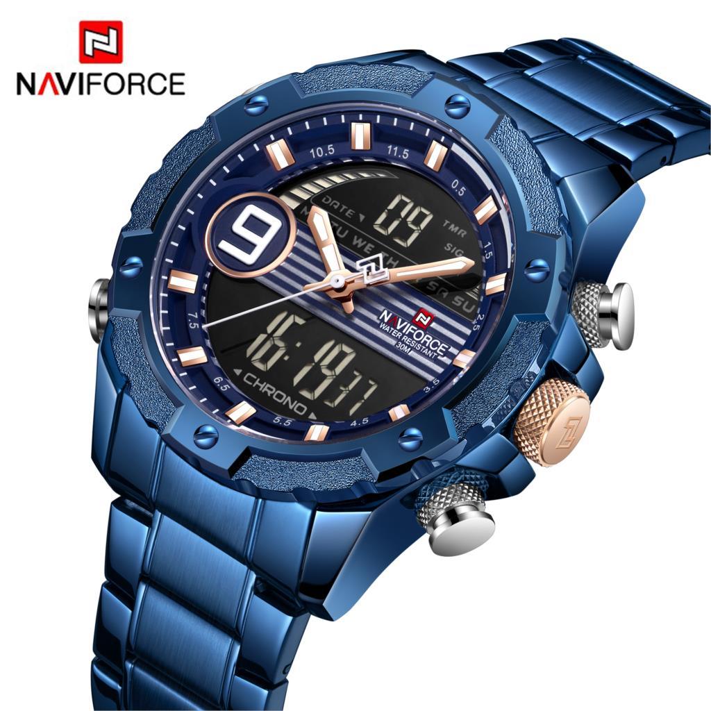 NAVIFORCE Hommes Montre Chronographe de Sport Militaire Montre Double Affichage Quartz Horloge Analogique Numérique 3ATM Étanche Montre-Bracelet Bleu
