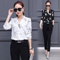 Stars Favorite New Fashion Women Suits Blouse Set Mujer Suits Shirts+Pants Twinset Stars Print Business Suit Femme Korea Style