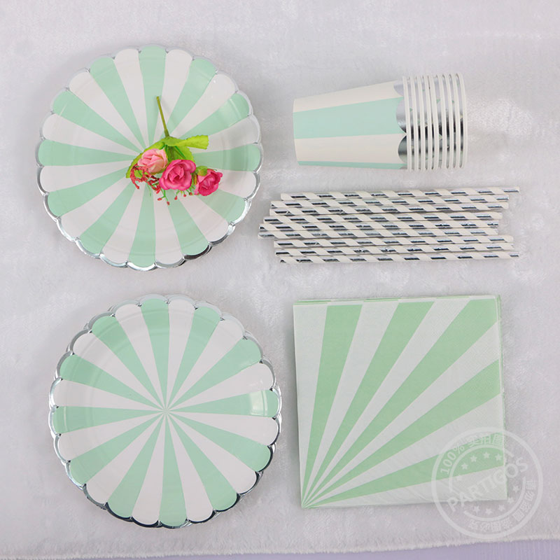 Silver Plated High end Disposable Tableware Green Striped Paper ...