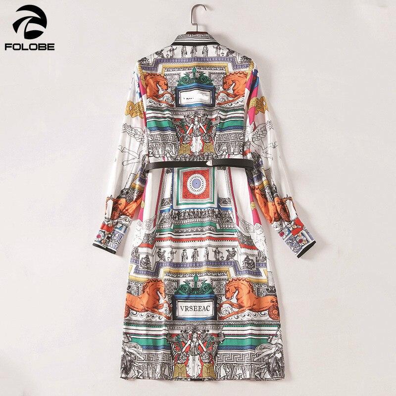 Automne Picture Manches Folobe 2019 Ceinture Avec Femmes Robes Européen Robe Color Impression À Mode Longues Printemps Style 1E1Zwqp