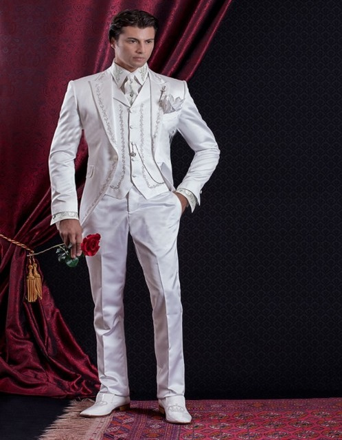 2018 Embroidery Groomsmen Tuxedos (Jacket+Pants+Vest) White Groom Wedding Men Suit Set Prom Mens Suits Blazers Terno Masculino