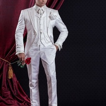 Suit-Set Groom Wedding Pants Blazers Vest Jacket Tuxedos Embroidery White Terno Masculino