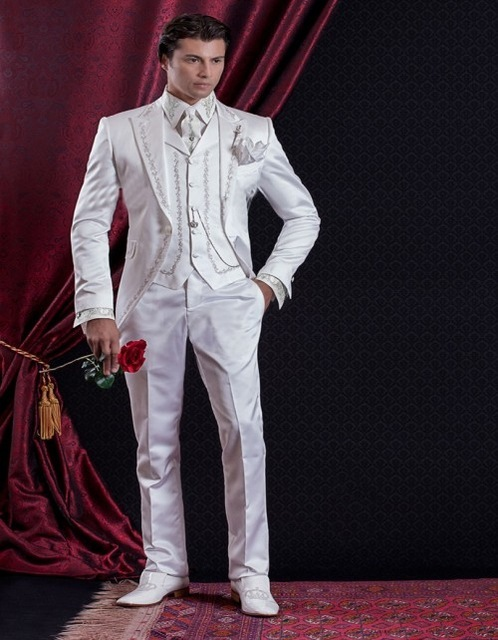 2020 تطريز بدلات رجال العريس (سترة + بنطلون + سترة) بدلة زفاف بيضاء طقم بدلة رجالي للحفلات الراقصة بدلات رجالي بدلة Terno Masculino